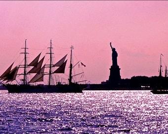 Lady Liberty ~ pink sky