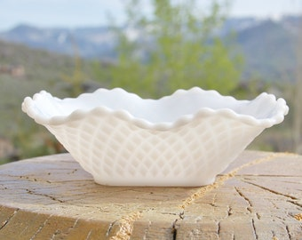 Pressed Milk Glass Bowl Candy Dish