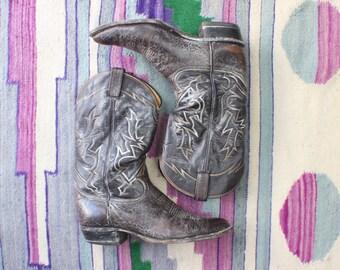 Size 11 D Men's Cowboy Boots / Black Label Tony Lama Boots / Vintage Leather Western Shoes