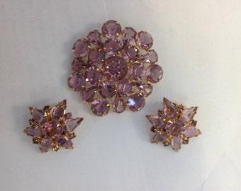 Vintage Purple Brooch and Clip Earrings Set (1392)