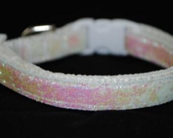 "Metallic Iridescent White Glitter - 3/8"" Adjustable Dog Collar"
