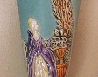 Vintage WELLER POTTERY Wall Pocket Vase Early 30's Victorian Colonial Era Woman Motif
