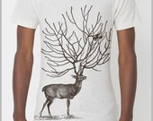 Men's Deer Antlers Buck T Shirt outfit American Apparel Unisex tee XS, S, M, L, XL 9 COLORS Deer Birds Nature trends