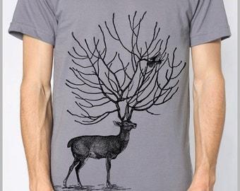 Mens Stag Deer Tree Antlers Birds T Shirt American Apparel Tshirt Animal Nature Print Shirt 9 COLORS mens gift