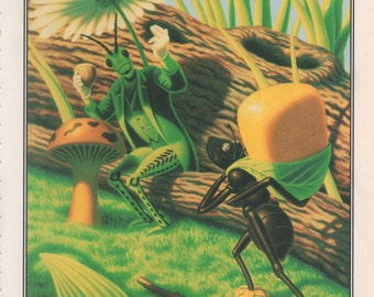 AESOPS FABLES The Ant And The Grasshopper Storybook print Childs art