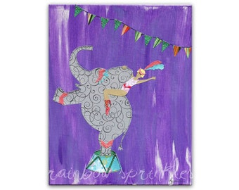 Children's Wall Art Print 11x14- circus, elephant, dancer, water for elephants, Kids Art, Kids Room, Nursery Art, Nursery Wall Decor