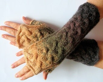 Fingerless Gloves Beige Green Brown wrist warmers