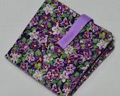 Tea Bag Wallet - Purple and White Violets Tea Bag Wallet/Holder for Your Purse or Pocket