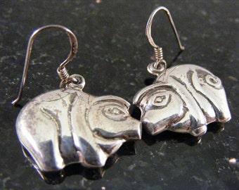 Vintage Cute Pig Sterling Silver Earrings  Lot 3575