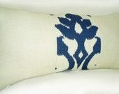 12x24 Lumbar Burlap Pillow Cover Blue Off White Ikat And Off White Burlap - Pillow Pleasing - Decorator Pillows