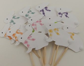 Easter Bunnies Cupcake Toppers White