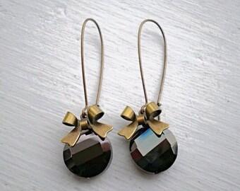 Chocolate Brown Crystal Earrings/Brown Earrings/Dark Brown Earrings/Crystal Earrings/Bow Earrings/Bridesmaid Earrings/Boho Earrings