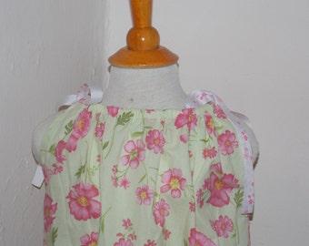 Pink floral pillowcase dress.  Size 7/8 dress.