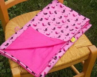 Pink flannel receiving blanket.  Pink birds baby blanket.