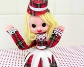 Vintage Kitsch 1960s Scottish Girl Christmas Ornament, Tartan Plaid Styrofoam Ornament