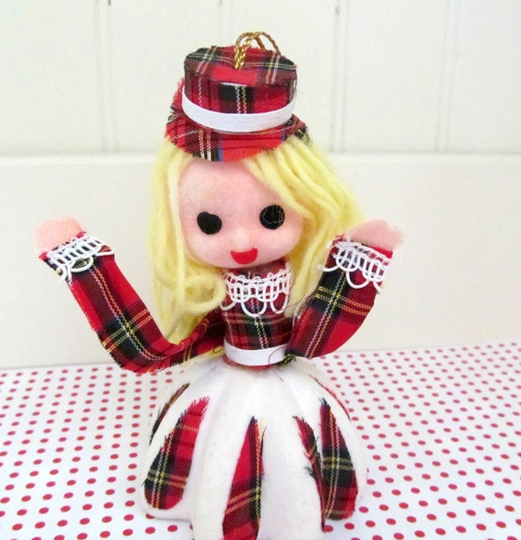 Lot Of 5 Vintage Christmas Decorations Kitsch Santa Claus: Vintage Kitsch 1960s Scottish Girl Christmas Ornament Tartan