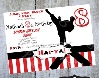 Karate Birthday Party Invitation Printable invite by Luv Bug Design
