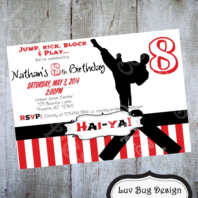 Karate Birthday Party Invitation Printable Invite By