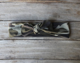 Camouflage Baby knotted Headbands / Baby turban Headbands / Baby Girl Head Wraps / Baby Headwrap / Headbands for Baby Girls / Baby Bow Headb