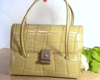 Vintage French handbag, purse, 1960s, faux crocodile in pale beige