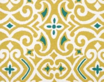 Two  20 x 20 Custom Pillow Covers - Robert Allen - Damask -  Yellow/Teal