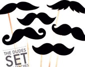 Photo Booth Props  - The Dudes - Set of 6 BLACK Mustaches on a stick - Photobooth Props Party Props