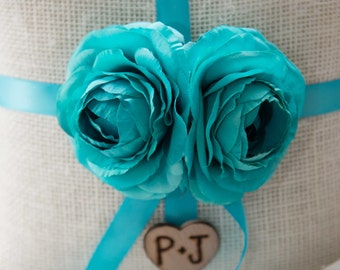 Shabby chic Burlap Ring bearer pillow featuring turquoise silk ranunculus with Bride & Groom Initials over 60 flowers to select from