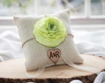 Lime Green ranunculus flower ivory burlap personalized ring bearer pillow  shabby chic with engraved initials... many more colors available