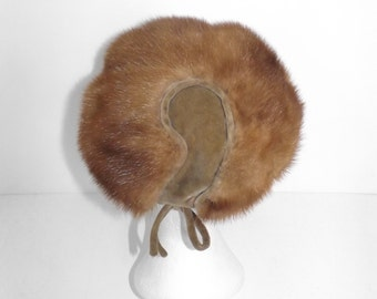 Vintage 50s real dark honey blonde mink fur russian style hat with velvet bow detail