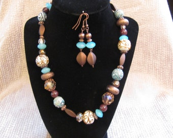 Copper and Blue Chunky Necklace