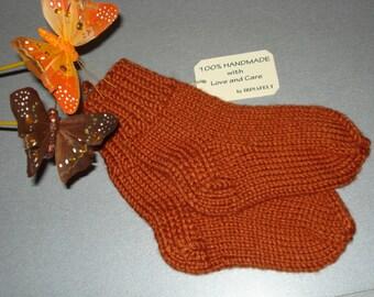 Hand Knitted Kids Socks Booties Legs Warmers, Baby Bed Socks, Toddler House Home Slippers Socks, Girls Boys Socks EUR Size 21-24, Gift idea