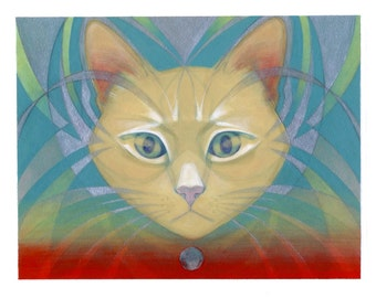 Soraneko - Psychedelic Cat Original Painting - Wall Art.
