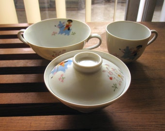 Vintage 4 pc. Mid Century Noritake Child's Porcelain Dinner Set - Momotaro and Forest Animals - Mint.