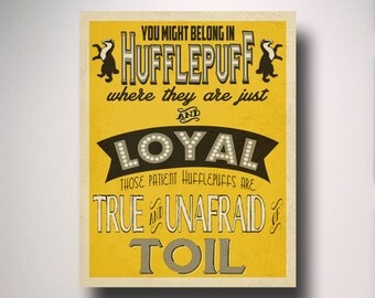 Hufflepuff House Art / Harry Potter Typography / Wall Art / Hogwarts Houses Collection