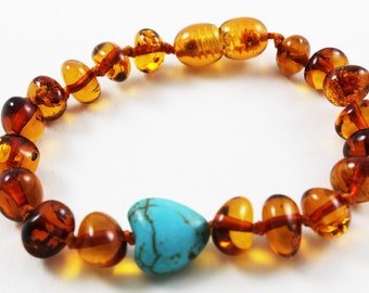 NATURAL BALTIC AMBER Teething Baltic Amber Bracelet or Anklet for Baby or Child