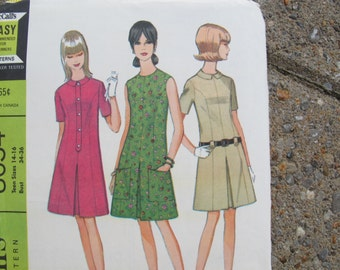 McCalls 8634 Teen Dress pattern in 3 versions UNCUT Size 14-16 / 1960's dress pattern / princess seam dress / Mad men dress pattern