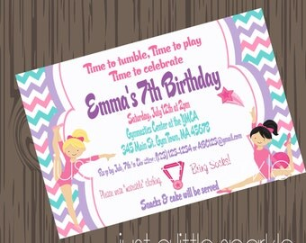 Gymnastic Invitation, Gymnastics Party, Gymnastic birthday, Gymnastic Invitation