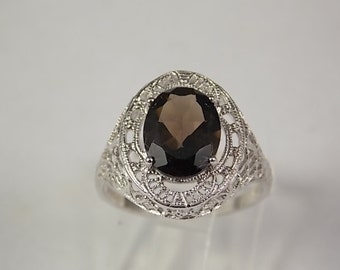 Smoky Quartz Ring 2.5 carats Sterling silver Filigree 2.2 gm Size 6.5