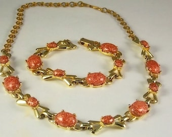 Vintage Sunstone Costume Jewelry Pendant and bracelet in Goldtone & Copper Colored stones