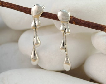 Dangle Earrings 'Paint Drip', Solid Sterling Silver