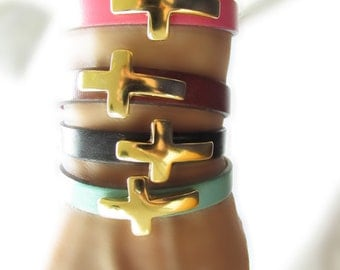 Summer Collection: Leather Cross Bracelets with Gold Hook Clasp