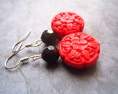 Red Etched Cinnabar Earrings - Red and Black Earrings - Carved Earrings