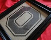 "The Ohio State Buckeyes Big ""O"" Rustic Burlap Wall Art  - 8 1/2"" x 11"" - Go Buckeyes"