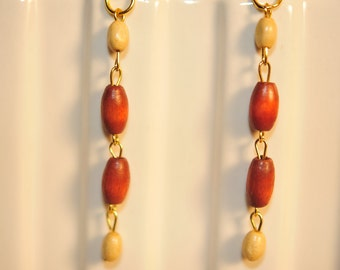 Handmade Vintage Brick and Cream Wooden Earrings
