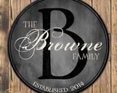 Personalized Family Established Sign, Personalized Family Name Sign, Last Name Sign, Wall Art with Established Date & Monogram, 4 Sizes