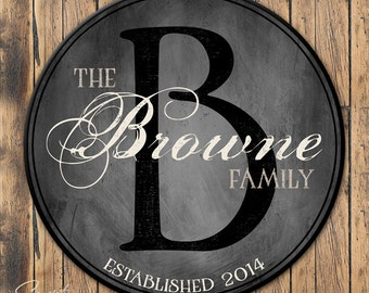 Personalized Family Established Sign, Personalized Family Name Sign, Last Name Sign, Wall Art with Established Date & Monogram, 4 Sizes