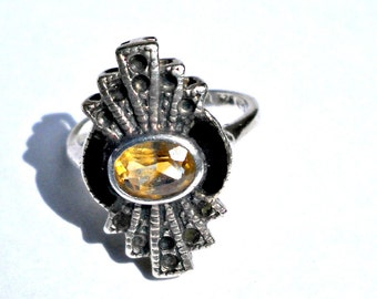 citrine ring sterling silver, black enamel, vintage art deco style, marcasite look, holiday, gift for her, size 6.5