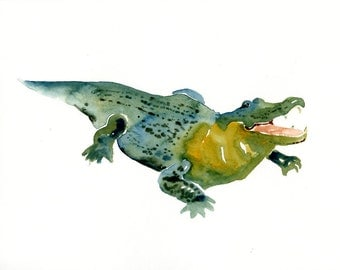 ALLIGATOR 7x5inch-Art Print-animal Watercolor Print-Giclee Print
