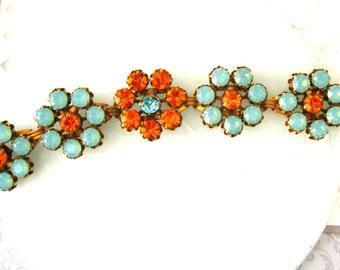 Pacific Opal Flower Link Bracelet Swarovski Crystal Vintage Flower bracelet Large bracelet 7-1/2 inch Plus Size Jewelry Blue braceletl