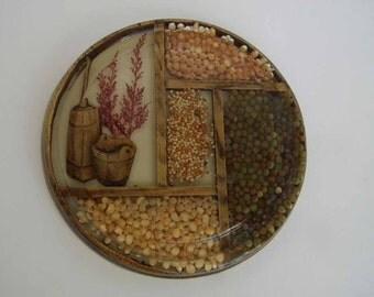 Vintage Hand Made Resin Seed Trivet Table Pad